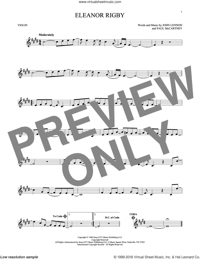 Eleanor Rigby sheet music for violin solo by The Beatles, John Lennon and Paul McCartney, intermediate skill level