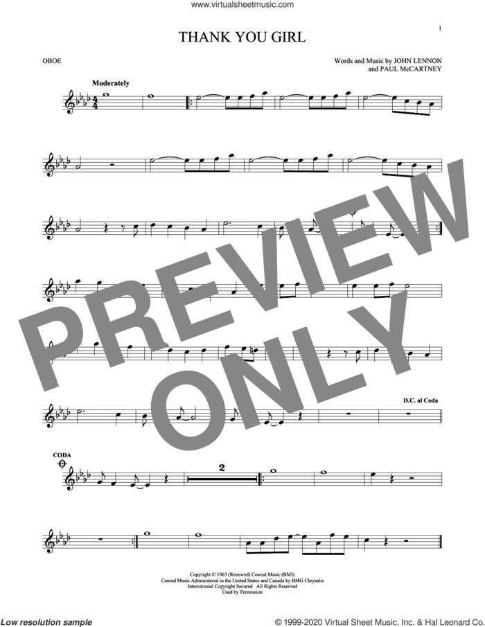 Thank You Girl sheet music for oboe solo by The Beatles, John Lennon and Paul McCartney, intermediate skill level