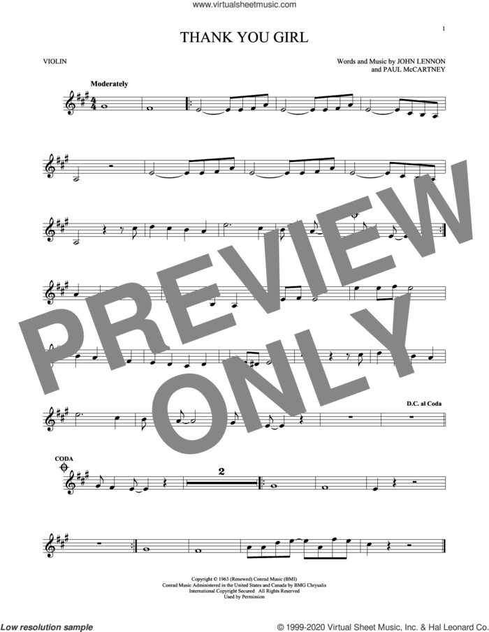 Thank You Girl sheet music for violin solo by The Beatles, John Lennon and Paul McCartney, intermediate skill level