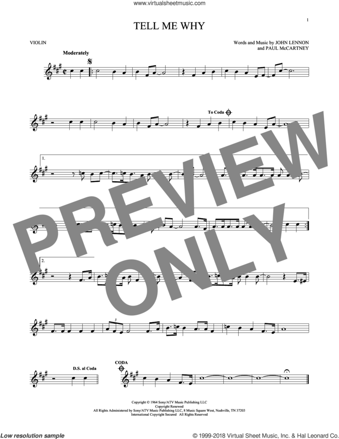 Tell Me Why sheet music for violin solo by The Beatles, John Lennon and Paul McCartney, intermediate skill level