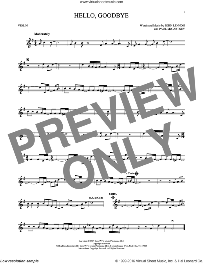 Hello, Goodbye sheet music for violin solo by The Beatles, John Lennon and Paul McCartney, intermediate skill level