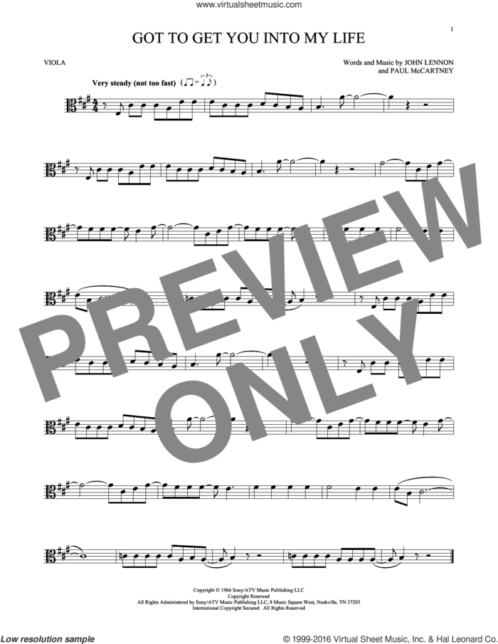 Got To Get You Into My Life sheet music for viola solo by The Beatles, John Lennon and Paul McCartney, intermediate skill level