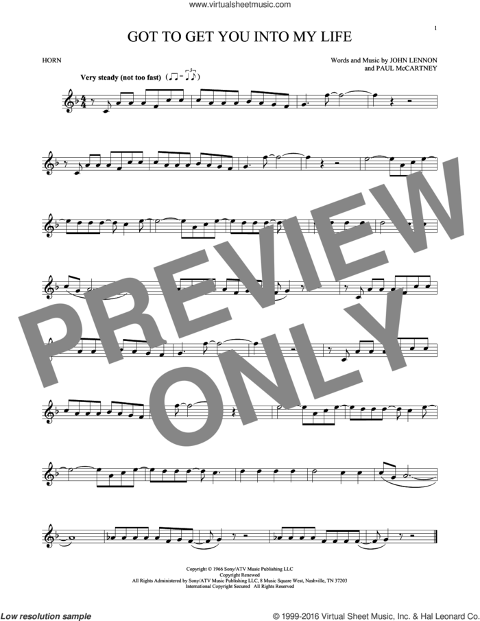 Got To Get You Into My Life sheet music for horn solo by The Beatles, John Lennon and Paul McCartney, intermediate skill level