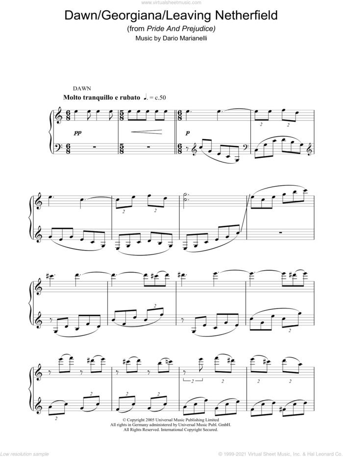 Dawn / Georgiana sheet music for piano solo by Dario Marianelli and Pride & Prejudice (Movie), intermediate skill level