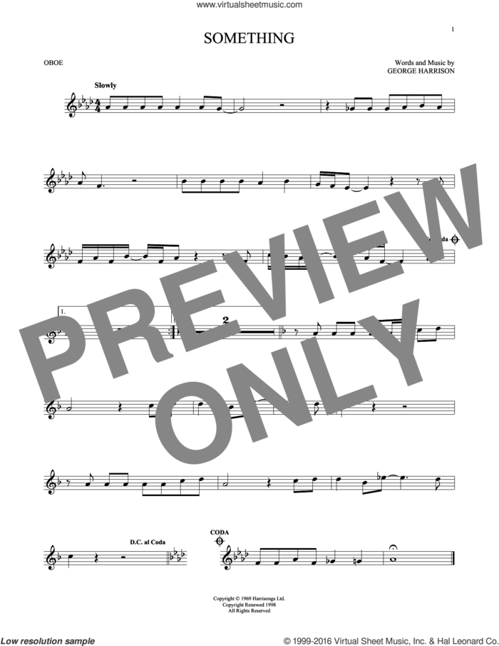Something sheet music for oboe solo by The Beatles and George Harrison, intermediate skill level