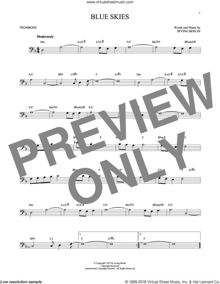 Blue Skies sheet music for trombone solo by Irving Berlin and Willie Nelson, intermediate skill level