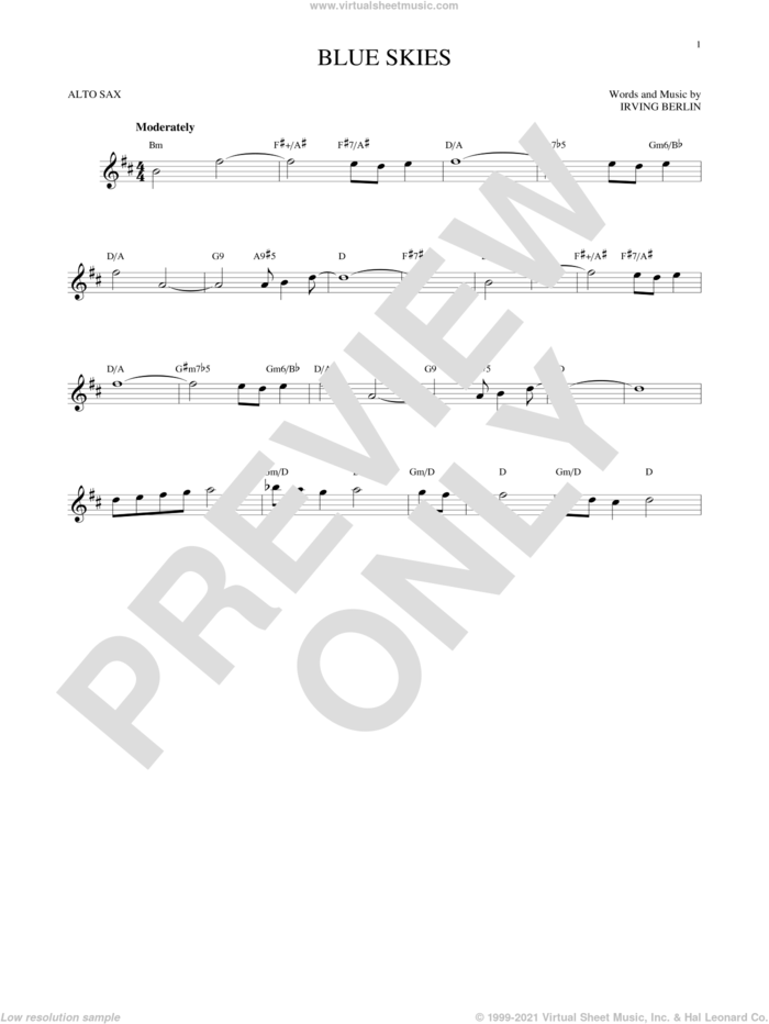Blue Skies sheet music for alto saxophone solo by Irving Berlin and Willie Nelson, intermediate skill level
