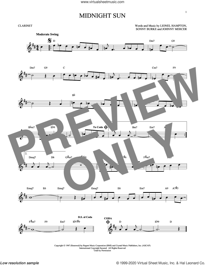 Midnight Sun sheet music for clarinet solo by Johnny Mercer, Lionel Hampton and Sonny Burke, intermediate skill level