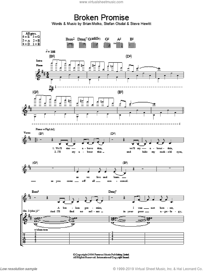 Broken Promise sheet music for guitar (tablature) by Placebo, Brian Molko, Stefan Olsdal and Steve Hewitt, intermediate skill level