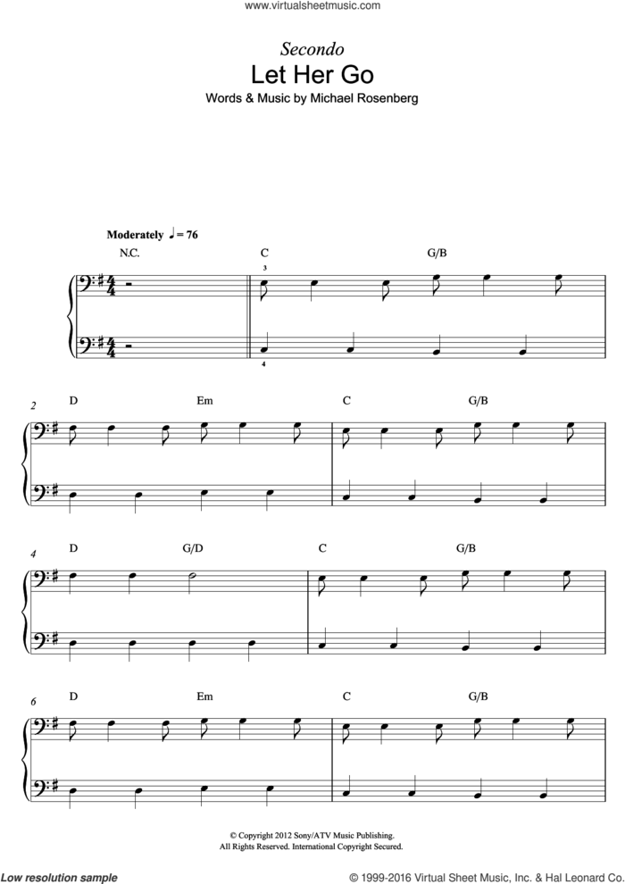 Let Her Go sheet music for piano solo by Passenger and Michael Rosenberg, intermediate skill level