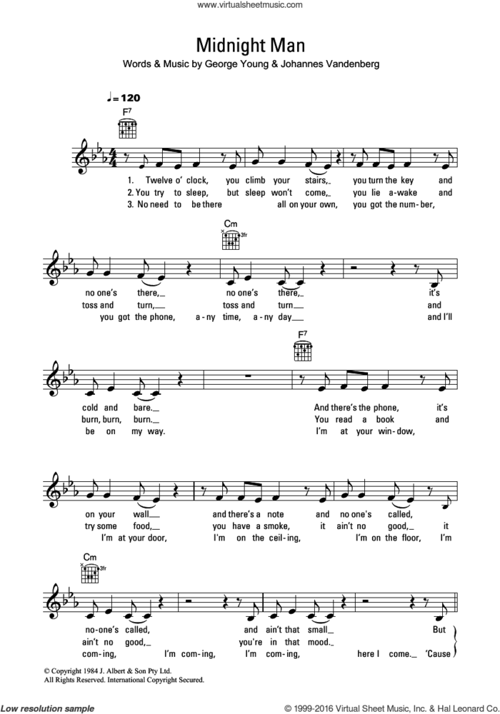 Midnight Man sheet music for voice and other instruments (fake book) by Flash And The Pan, George Young and Johannes Vandenberg, intermediate skill level