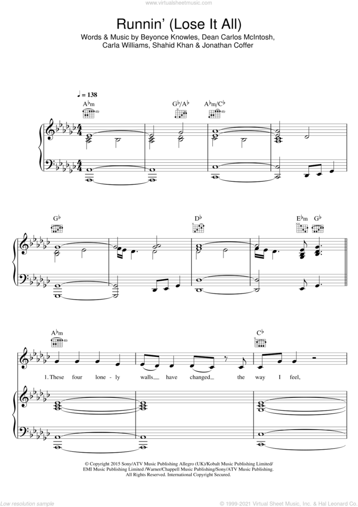 Runnin' (Lose It All) (featuring Beyonce and Arrow Benjamin) sheet music for voice, piano or guitar by Naughty Boy, Arrow Benjamin, Beyonce Knowles, Beyonce, Carla Williams, Dean Carlos McIntosh, Jonathan Coffer and Shahid Khan, intermediate skill level
