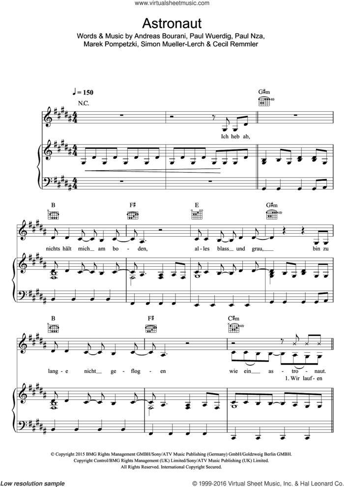 Astronaut (featuring Andreas Bourani) sheet music for voice, piano or guitar by Sido, Andreas Bourani, Cecil Remmler, Marek Pompetzki, Paul Nza, Paul Wuerdig and Simon Mueller-Lerch, intermediate skill level