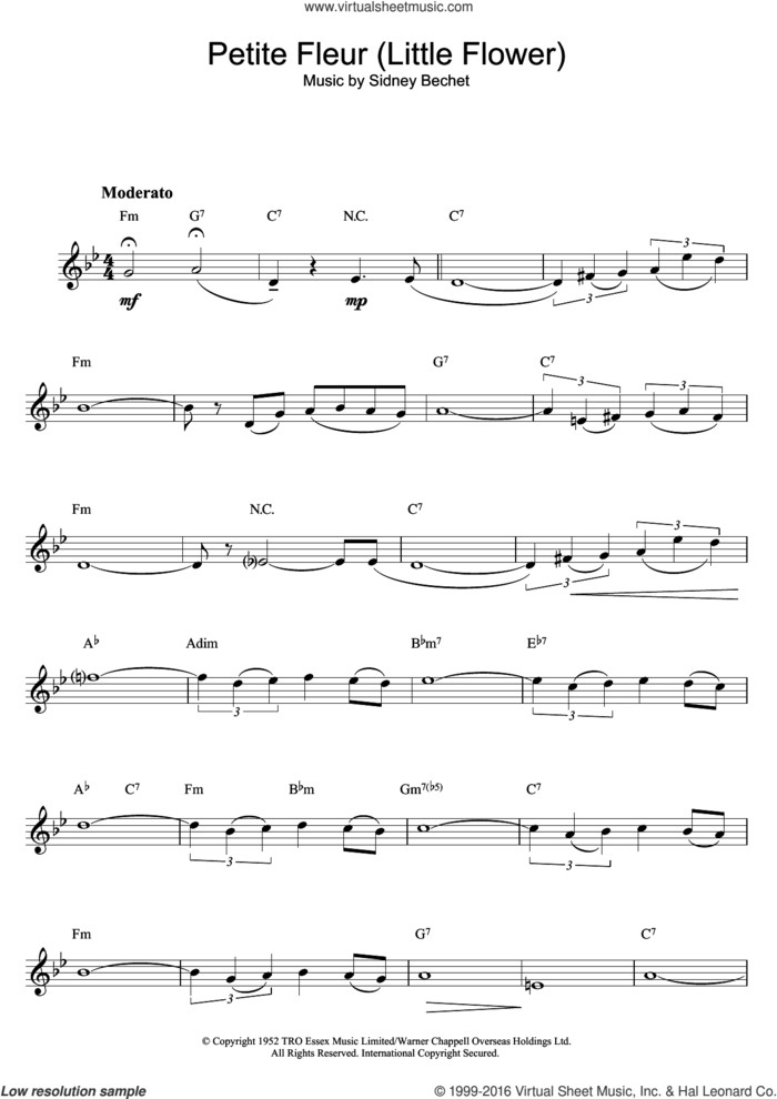 Petite Fleur (Little Flower) sheet music for voice and other instruments (fake book) by Sidney Bechet, intermediate skill level