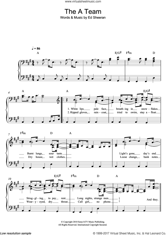 The A Team sheet music for piano solo by Ed Sheeran, easy skill level