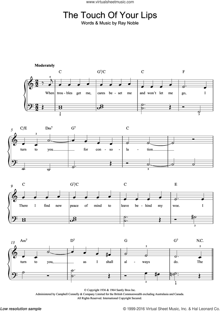 The Touch Of Your Lips sheet music for voice, piano or guitar by Nat King Cole and Ray Noble, intermediate skill level