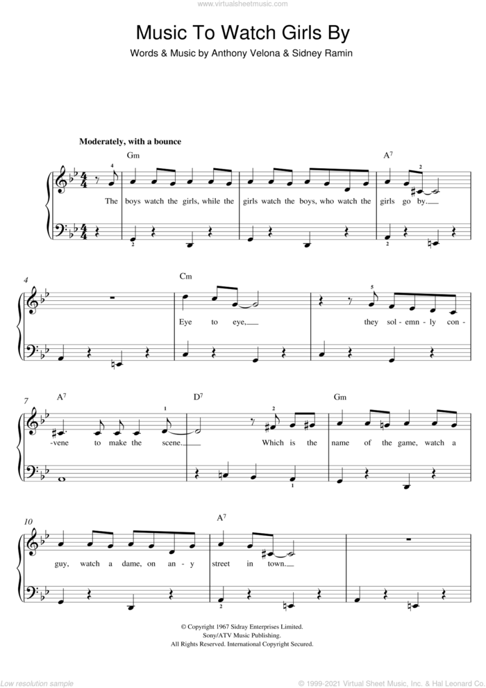 Music To Watch Girls By sheet music for voice, piano or guitar by Andy Williams, Sidney Ramin and Tony Velona, intermediate skill level