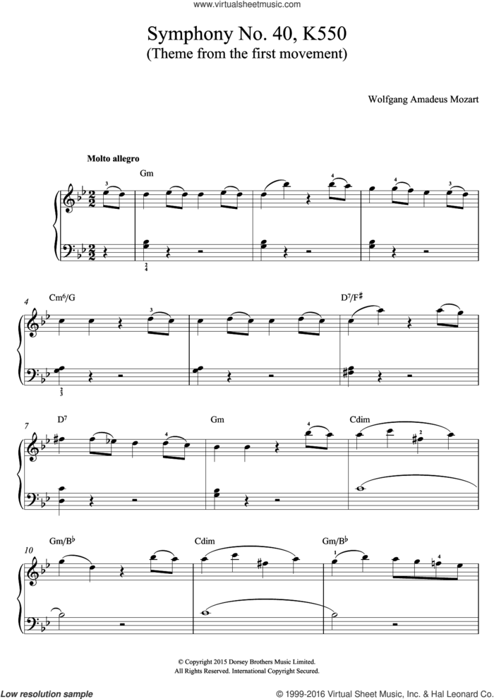 Symphony No. 40 in G Minor K550, 1st Movement Theme sheet music for voice, piano or guitar by Wolfgang Amadeus Mozart, classical score, intermediate skill level