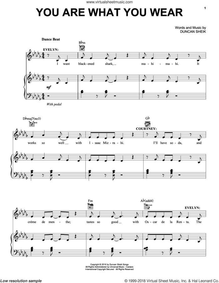 You Are What You Wear sheet music for voice, piano or guitar by Duncan Sheik, intermediate skill level