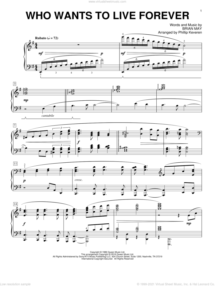 Who Wants To Live Forever [Classical version] (arr. Phillip Keveren) sheet music for piano solo by Phillip Keveren, Queen and Brian May, intermediate skill level