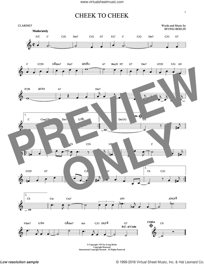 Cheek To Cheek sheet music for clarinet solo by Irving Berlin and Fred Astaire, intermediate skill level
