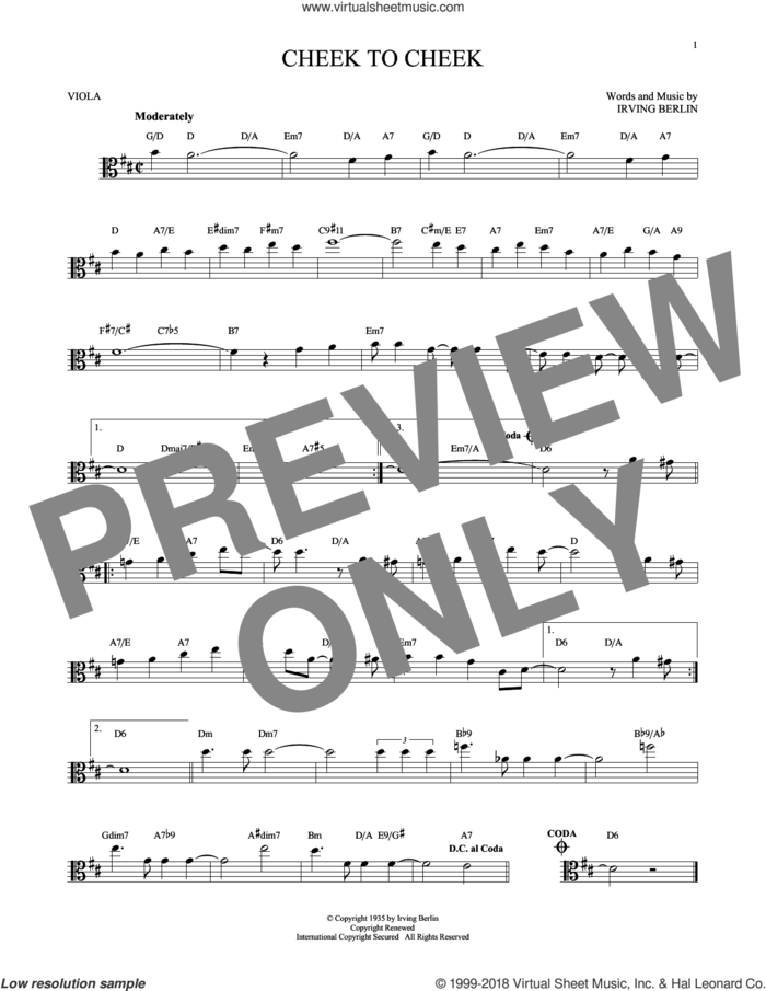 Cheek To Cheek sheet music for viola solo by Irving Berlin and Fred Astaire, intermediate skill level