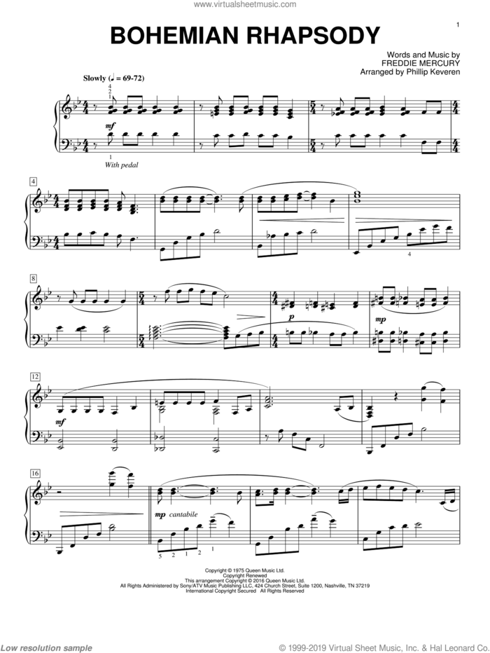 Bohemian Rhapsody [Classical version] (arr. Phillip Keveren) sheet music for piano solo by Phillip Keveren and Queen, intermediate skill level