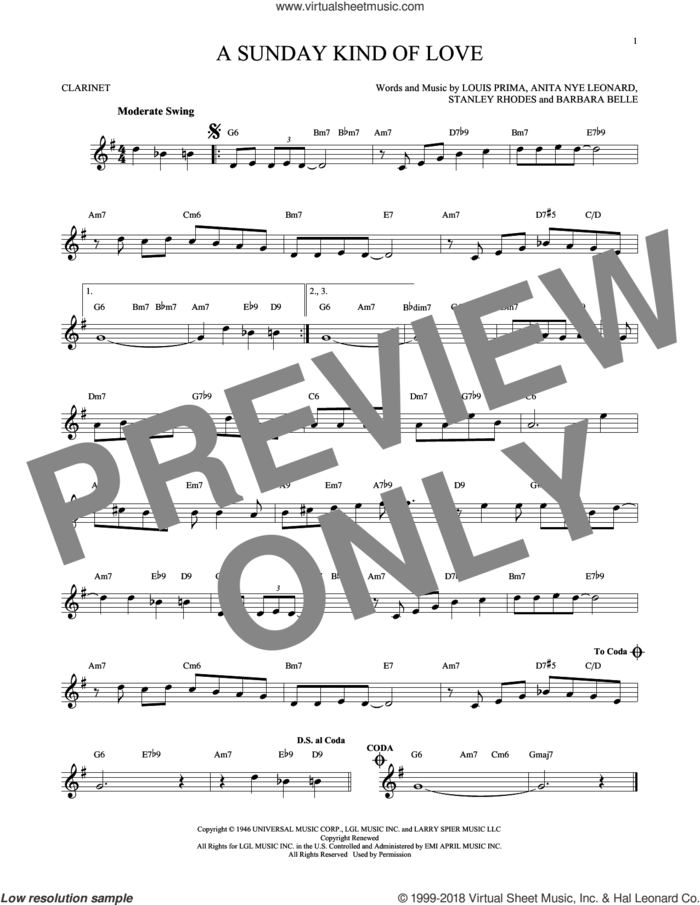 A Sunday Kind Of Love sheet music for clarinet solo by Etta James, Reba McEntire, Anita Nye Leonard, Barbara Belle, Louis Prima and Stanley Rhodes, intermediate skill level