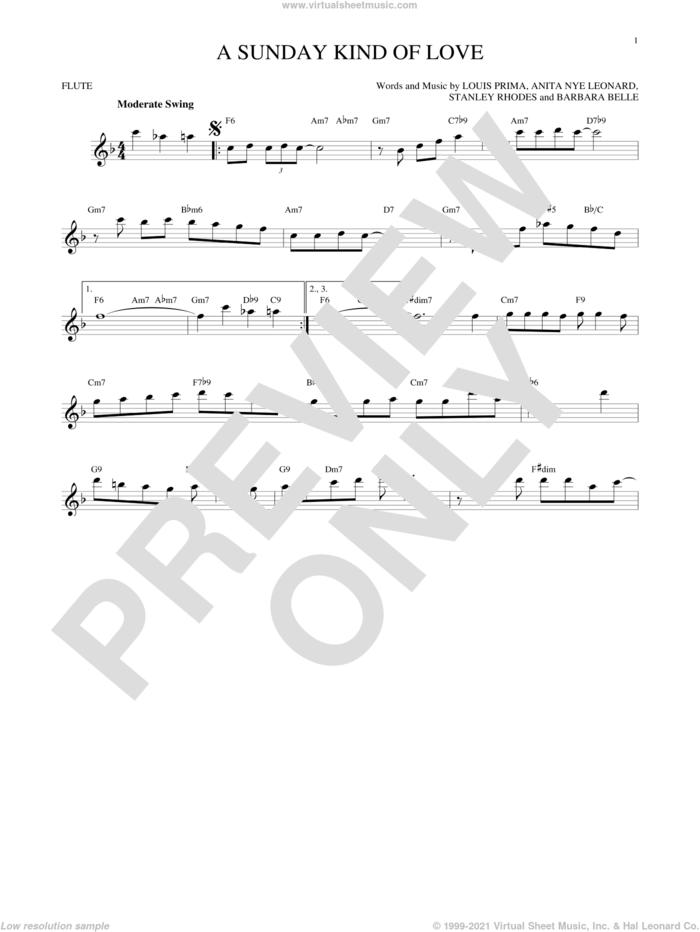 A Sunday Kind Of Love sheet music for flute solo by Etta James, Reba McEntire, Anita Nye Leonard, Barbara Belle, Louis Prima and Stanley Rhodes, intermediate skill level