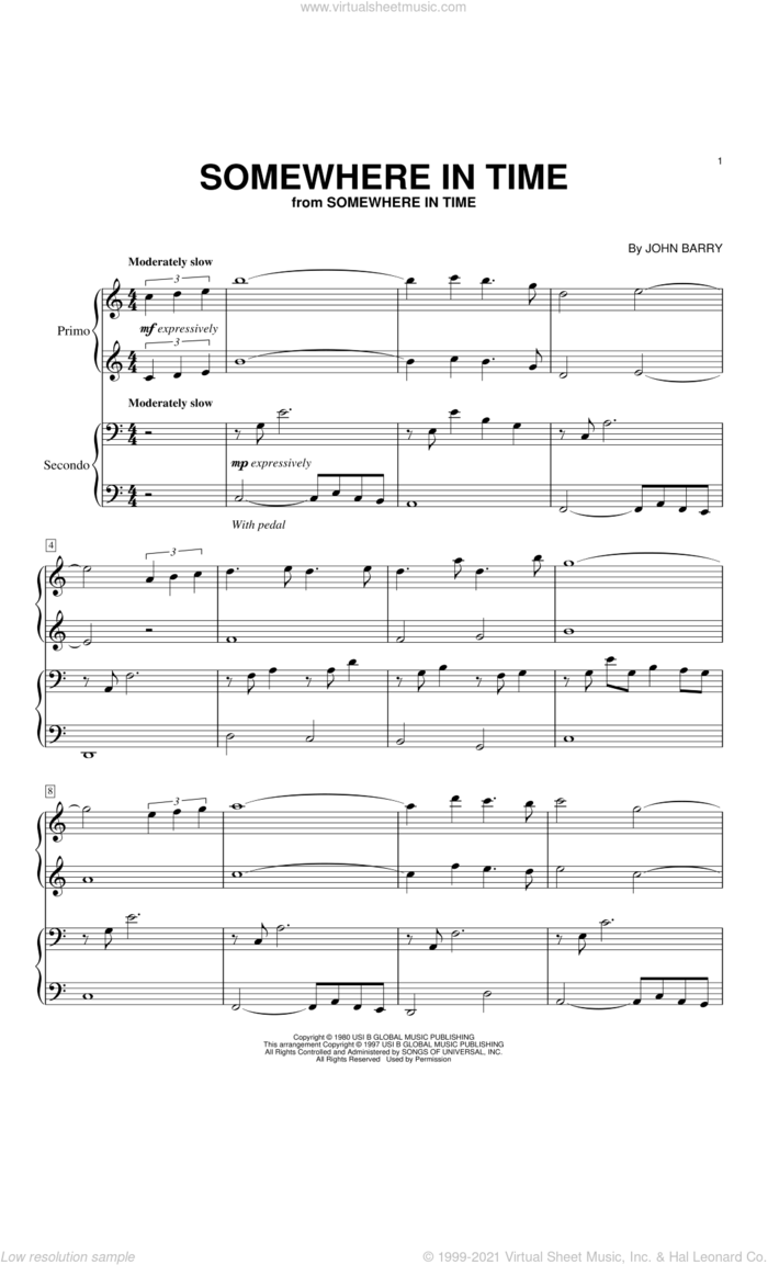 Somewhere In Time sheet music for piano four hands by John Barry and B.A. Robertson, intermediate skill level