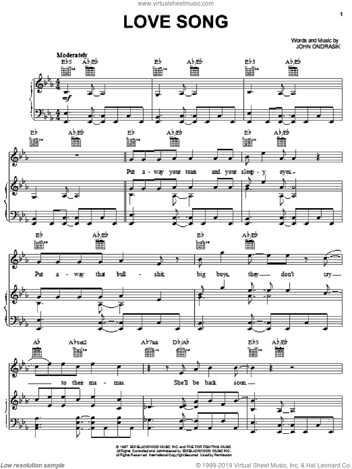 Love Song sheet music for voice, piano or guitar by Five For Fighting and John Ondrasik, intermediate skill level