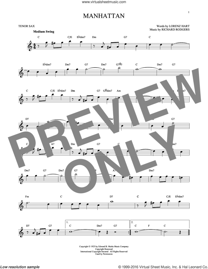 Manhattan sheet music for tenor saxophone solo by Rodgers & Hart, Lorenz Hart and Richard Rodgers, intermediate skill level