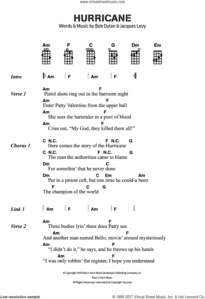 Hurricane sheet music for voice, piano or guitar by Bob Dylan and Jacques Levy, intermediate skill level