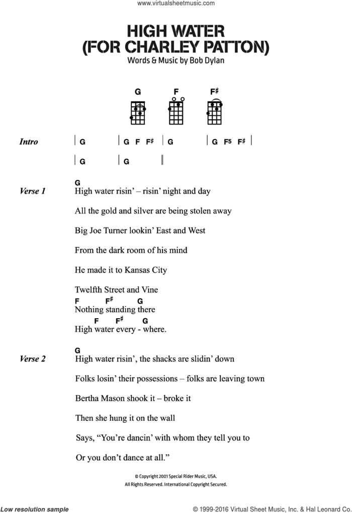High Water (For Charley Patton) sheet music for voice, piano or guitar by Bob Dylan, intermediate skill level