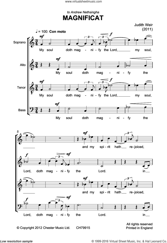 Magnificat And Nunc Dimittis sheet music for voice, piano or guitar by Judith Weir and Liturgical Text, classical score, intermediate skill level
