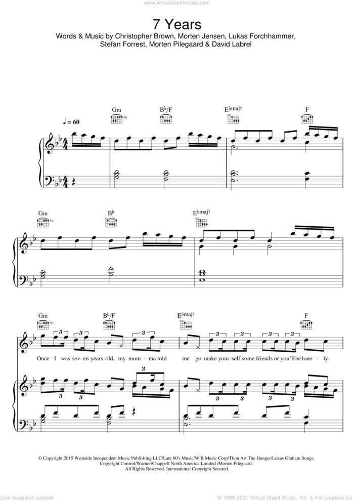 7 Years sheet music for voice, piano or guitar by Lukas Graham, Chris Brown, David Labrel, Lukas Forchhammer, Morten Jensen, Morten Pilegaard and Stefan Forrest, intermediate skill level