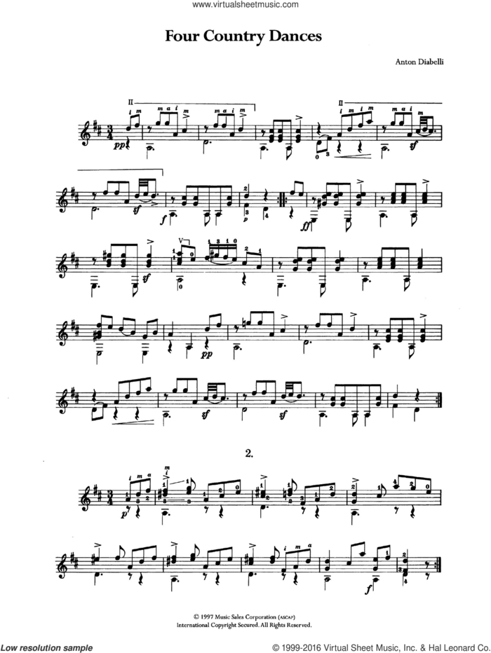 Four Country Dances sheet music for guitar solo (chords) by Antonio Diabelli, classical score, easy guitar (chords)