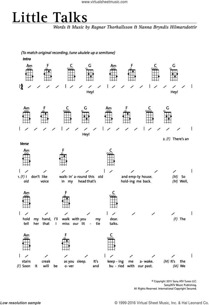Little Talks sheet music for ukulele (chords) by Of Monsters And Men, Nanna Bryndis Hilmarsdottir and Ragnar Thorhallsson, intermediate skill level