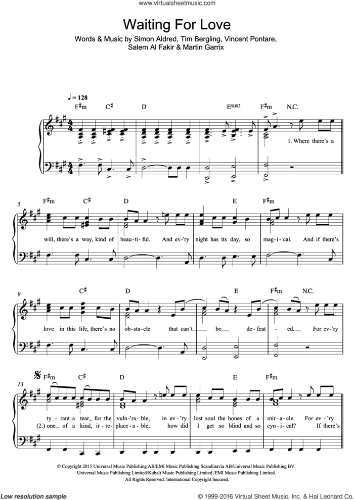 Waiting For Love sheet music for piano solo by Avicii, Martin Garrix, Salem Al Fakir, Simon Aldred, Tim Bergling and Vincent Pontare, easy skill level