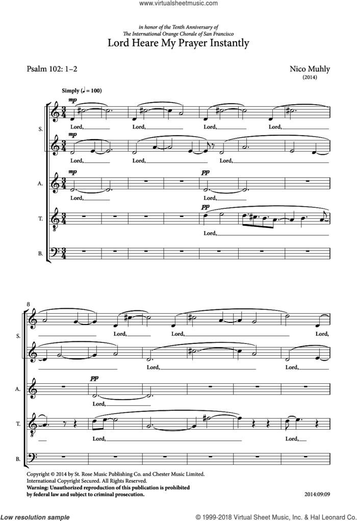 Lord Heare My Prayer Instantly sheet music for choir by Nico Muhly and Liturgical Text, classical score, intermediate skill level