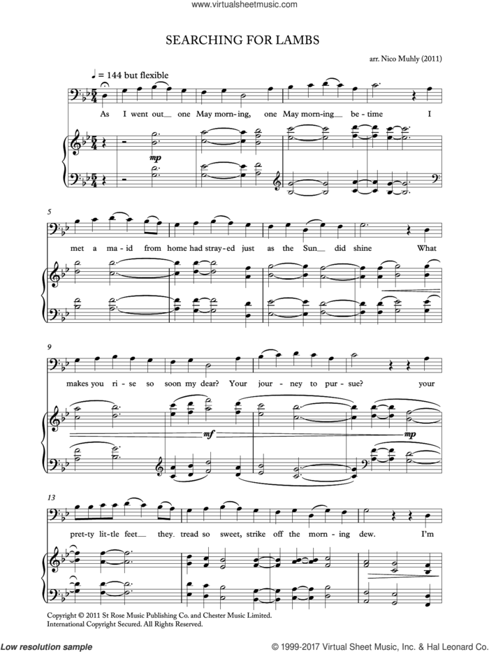 Searching For Lambs (from 'Four Traditional Songs') sheet music for voice, piano or guitar by Nico Muhly, classical score, intermediate skill level