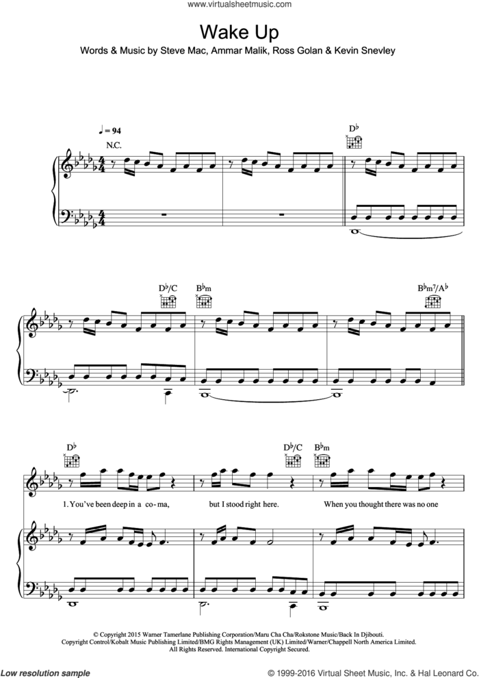 Wake Up sheet music for voice, piano or guitar by The Vamps, Ammar Malik, Kevin Snevley, Ross Golan and Steve Mac, intermediate skill level