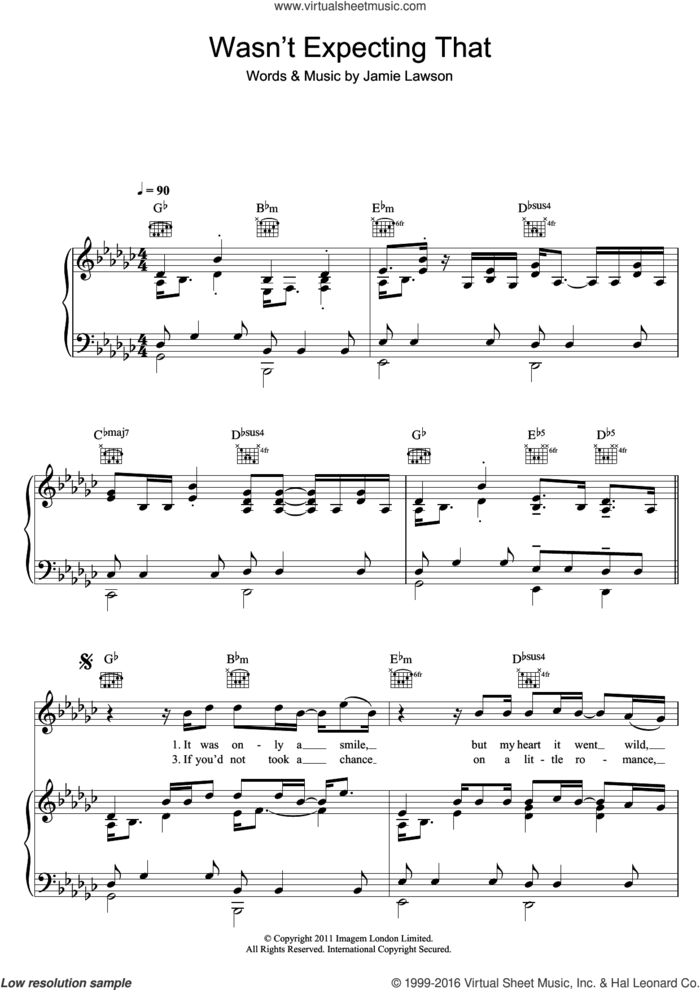 Wasn't Expecting That sheet music for voice, piano or guitar by Jamie Lawson, intermediate skill level
