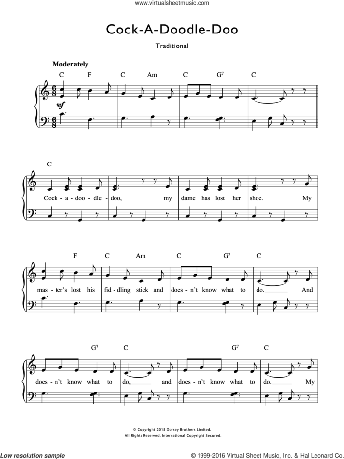 Cock-A-Doodle-Doo sheet music for voice and piano by Traditional Nursery Rhyme and Miscellaneous, intermediate skill level