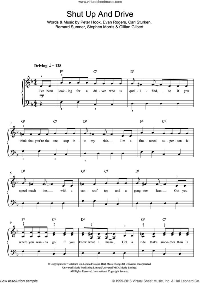 Shut Up And Drive sheet music for voice, piano or guitar by Rihanna, Rhianna, Bernard Sumner, Carl Sturken, Evan Rogers, Gillian Gilbert, Peter Hook and Stephen Morris, intermediate skill level