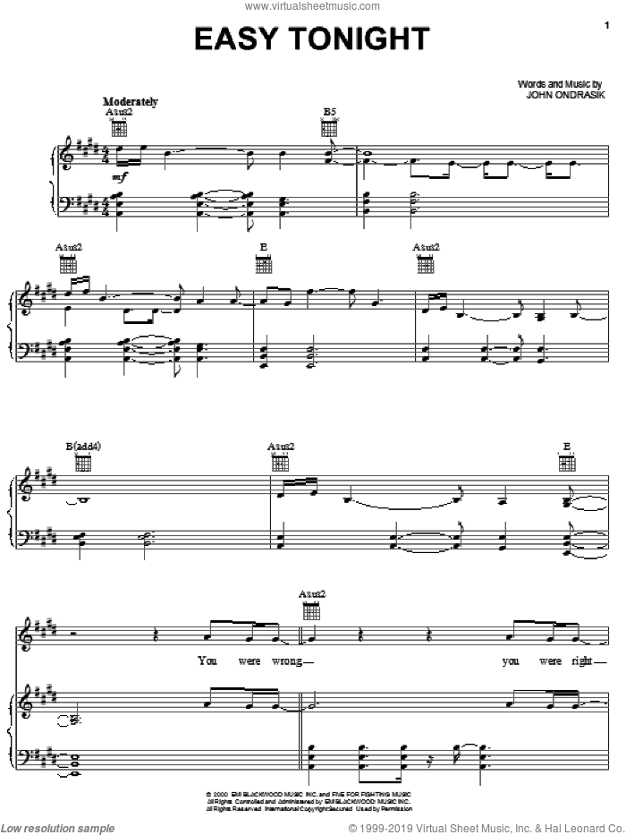 Easy Tonight sheet music for voice, piano or guitar by Five For Fighting and John Ondrasik, intermediate skill level