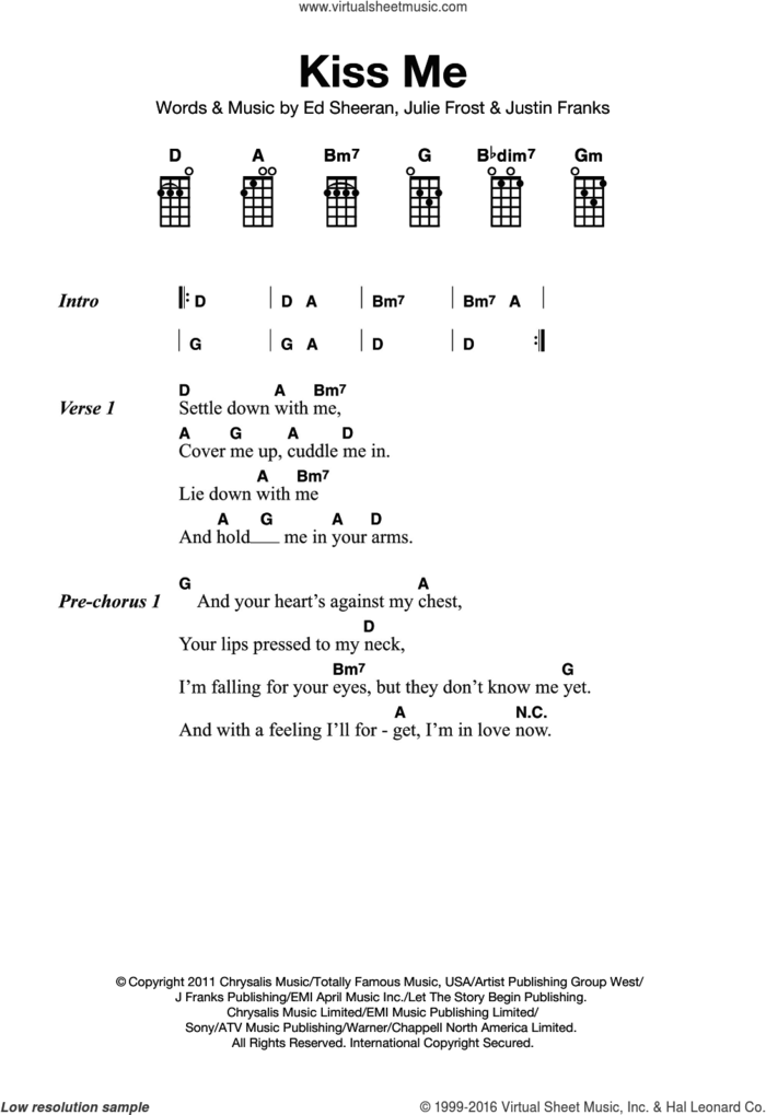 Kiss Me sheet music for ukulele by Ed Sheeran, Julie Frost and Justin Franks, intermediate skill level