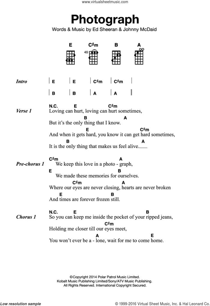 Photograph sheet music for ukulele by Ed Sheeran and John McDaid, intermediate skill level