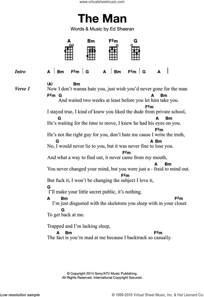 The Man sheet music for ukulele by Ed Sheeran, intermediate skill level