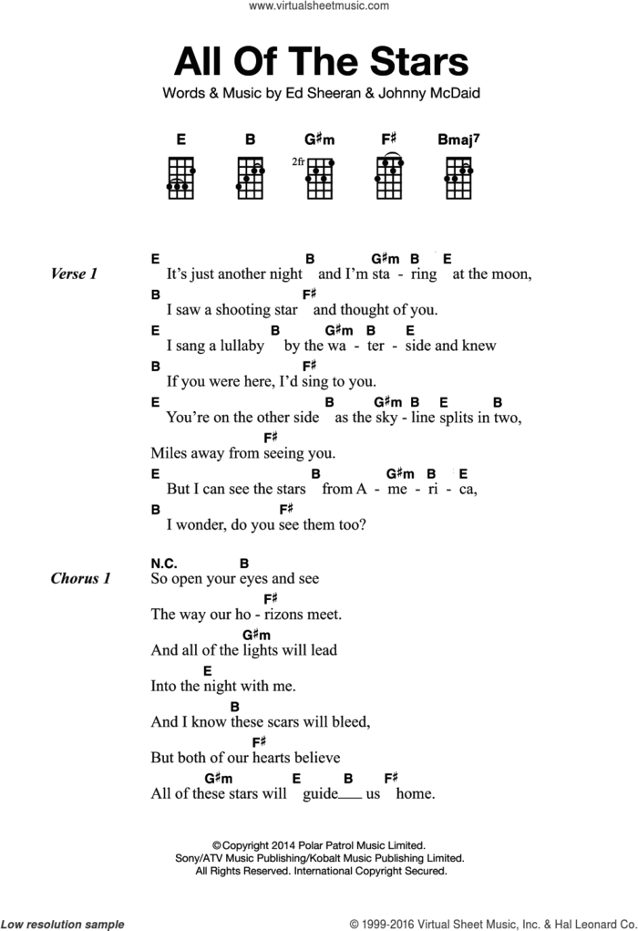 All Of The Stars sheet music for ukulele by Ed Sheeran and Johnny McDaid, intermediate skill level